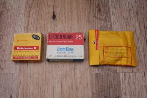 Pre 1970s Kodak Regular 8 packaging, Pre 1970s Ilford Regular 8 packaging, 1970s onwards Kodak Super 8 envelope packaging